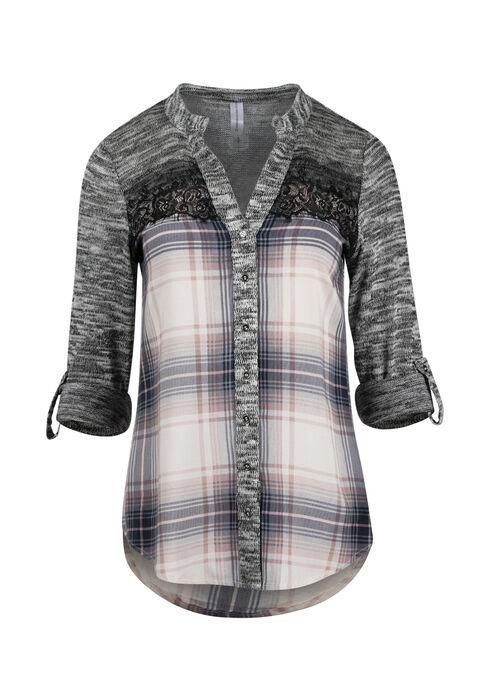 Ladies' Plaid Roll Sleeve Shirt, TICKLED PINK, hi-res