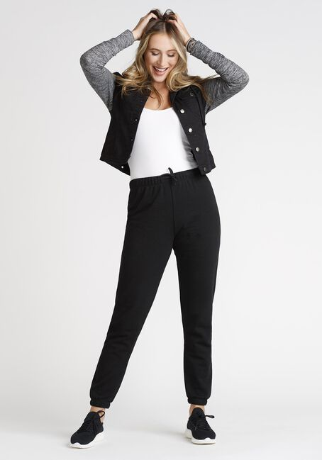 Women's Knit Sleeve Black Denim Jacket, BLACK, hi-res