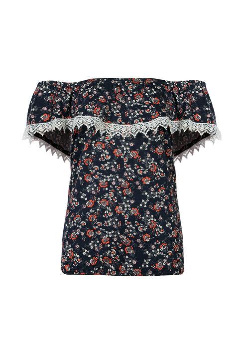 Ladies' Floral Bardot Top, INDIGO, hi-res