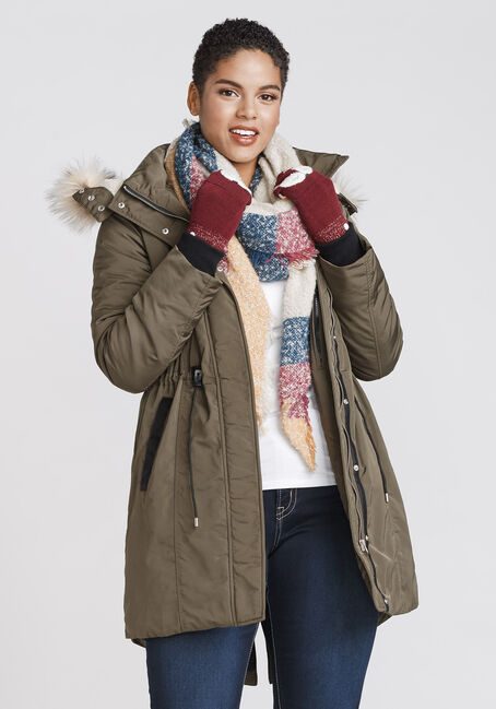 Women's Fur Trim Anorak, OLIVE, hi-res