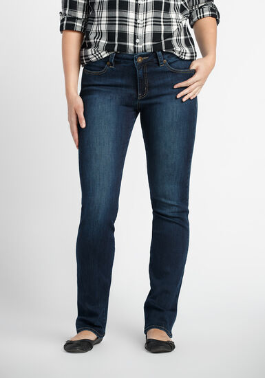 Ladies' Straight Leg Jeans, MEDIUM WASH, hi-res