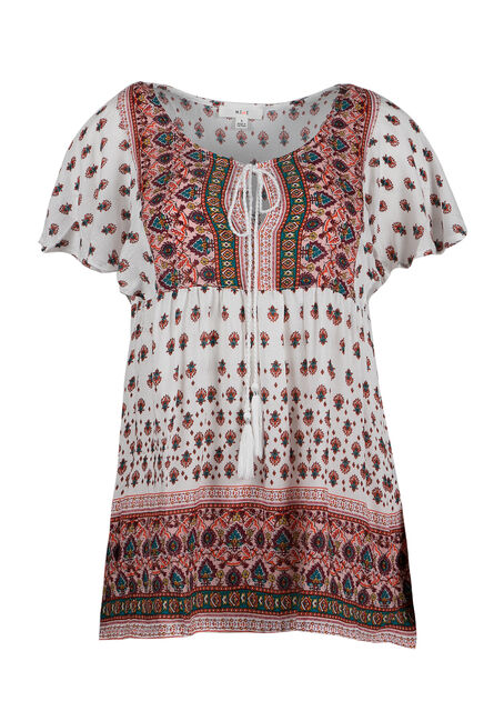 Ladies' Twin Print Peasant Top