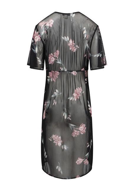 Women's Floral Mesh Duster Kimono, BLACK, hi-res