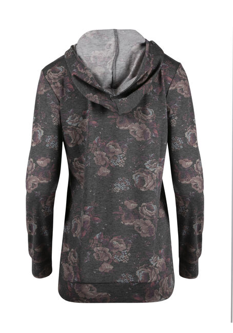 Ladies' Floral Hooded Tee, CHARCOAL, hi-res