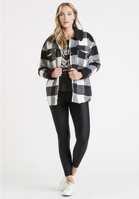 Women's Plaid Hooded Jacket, BLK/WHT, hi-res
