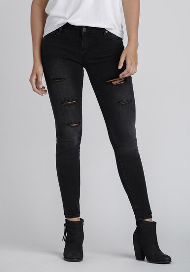 Women's Black Distressed Skinny Jeans, BLACK, hi-res