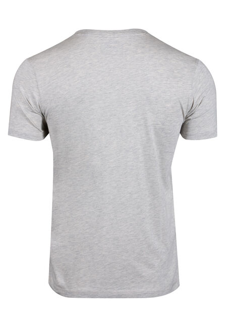 Men's Striped Henley Tee, HEATHER GREY, hi-res
