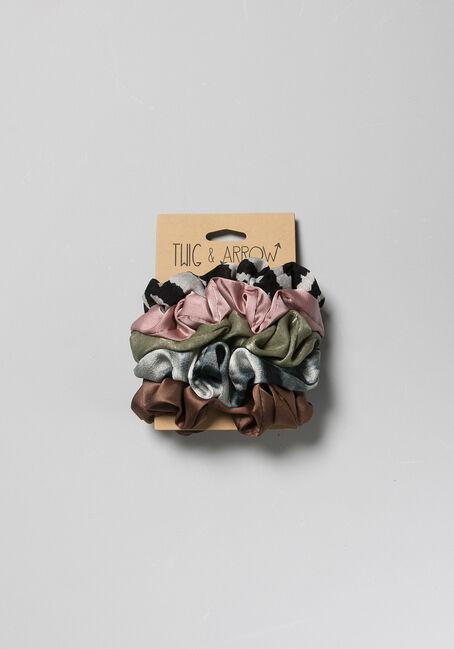 5 Pack Scrunchie Set, OLIVE, hi-res