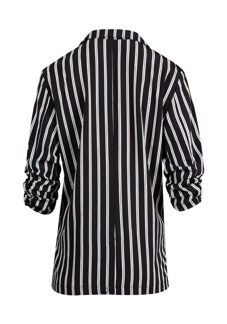 Women's Striped Blazer, BLACK, hi-res