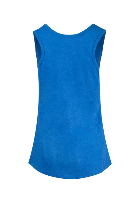 Women's Scoop Neck Slub Tank, ISLAND BLUE, hi-res