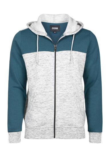 Men's Colour Block Zip Front Hoodie, STEEL BLUE, hi-res