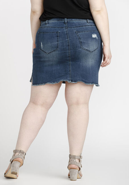 Women's Plus Size Step Hem Denim Skirt, DARK WASH, hi-res