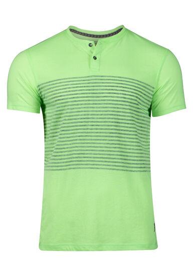 Men's Striped Henley Tee, FRESH GREEN, hi-res