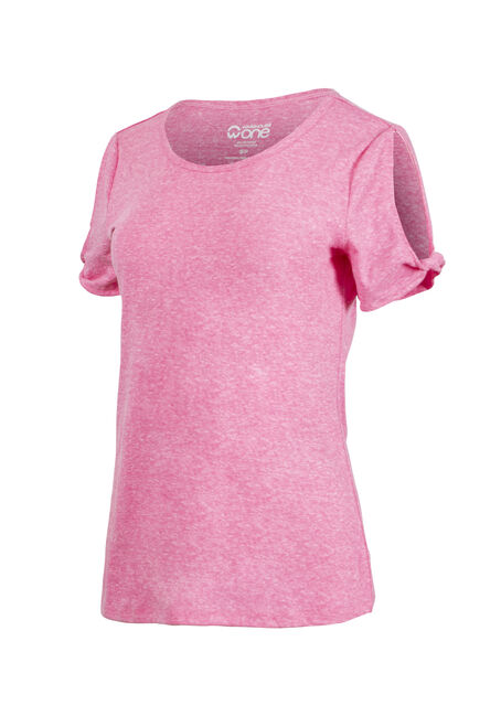 Women's Split Sleeve Tee, FLAMINGO, hi-res