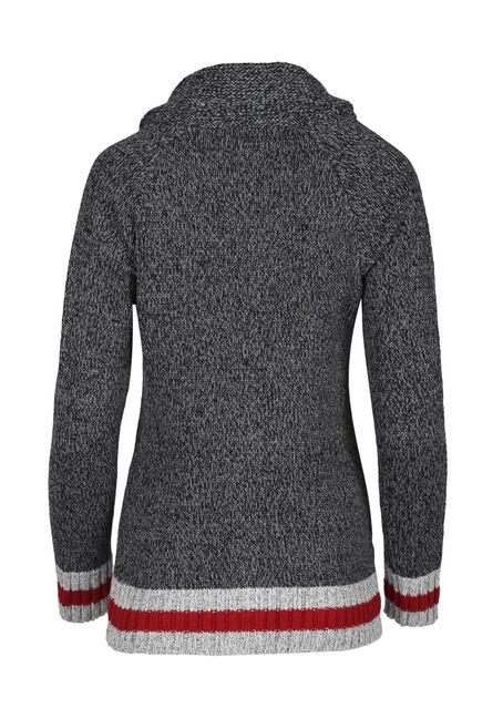 Ladies' Cabin Cardigan, CHARCOAL/RED, hi-res
