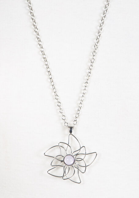 Women's Flower Neckace, RHODIUM, hi-res