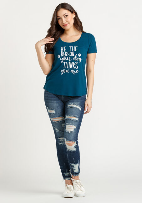 Women's Be The Person Scoop Neck Tee, TEAL, hi-res