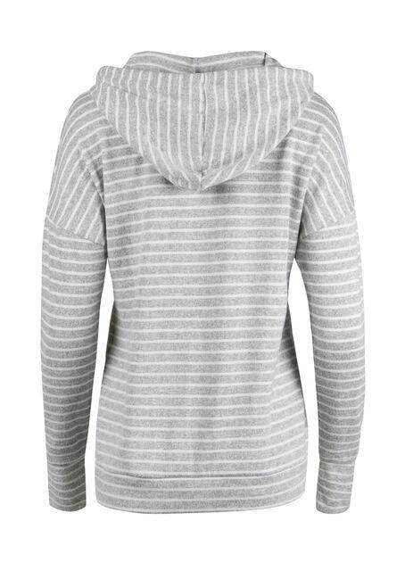 Ladies' Super Soft Stripe Hoodie, HEATHER GREY/ IVORY, hi-res