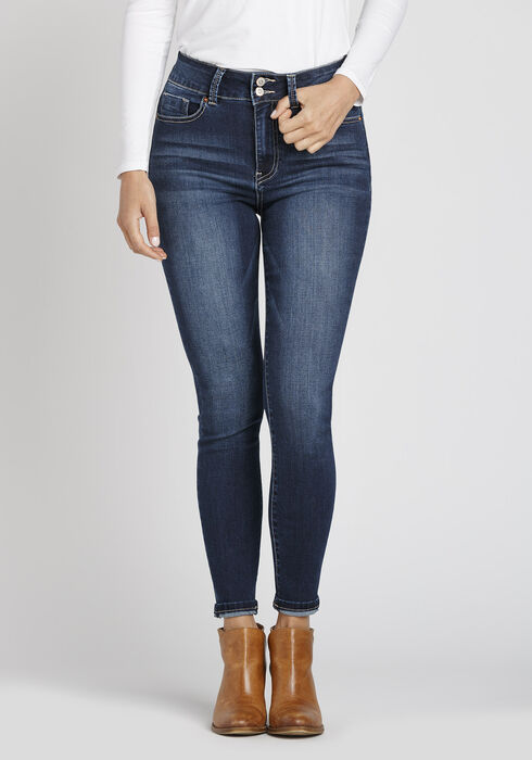 Women's Super High Rise Ankle Skinny Jeans, DARK WASH, hi-res