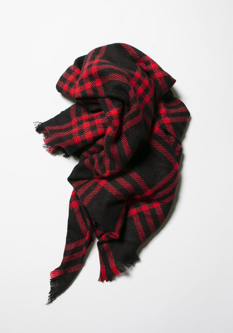 Women's Plaid Blanket Scarf, BLACK/RED, hi-res