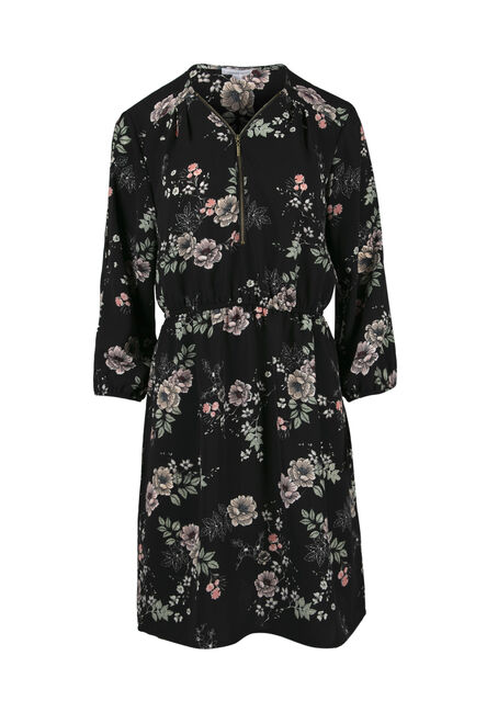 Women's Floral Cold Shoulder Shirt Dress