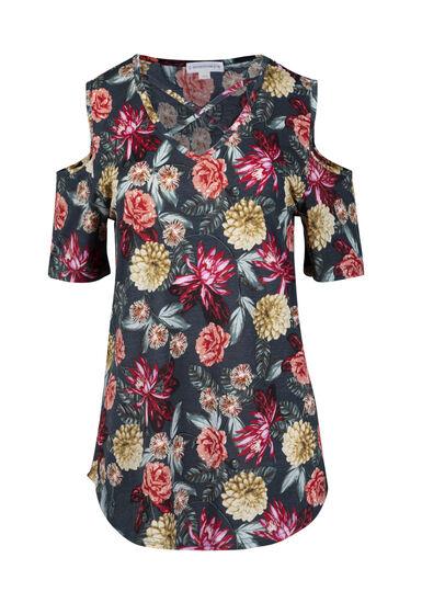 Women's Floral Cage Neck Cold Shoulder Tee, SAGE, hi-res