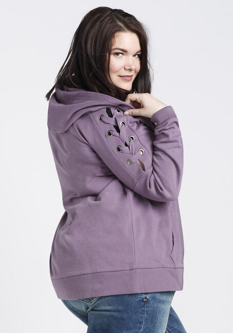 Ladies' Lace Up Grommet Sleeve Hoodie, TULIP, hi-res