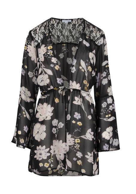 Women's Floral Tie Front Kimono