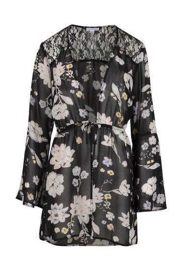 Women's Floral Tie Front Kimono, BLACK, hi-res