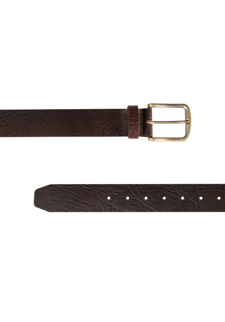 Men's Basic Leather Belt, BROWN, hi-res