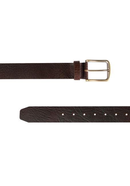 Men's Basic Leather Belt, BROWN, hi-res
