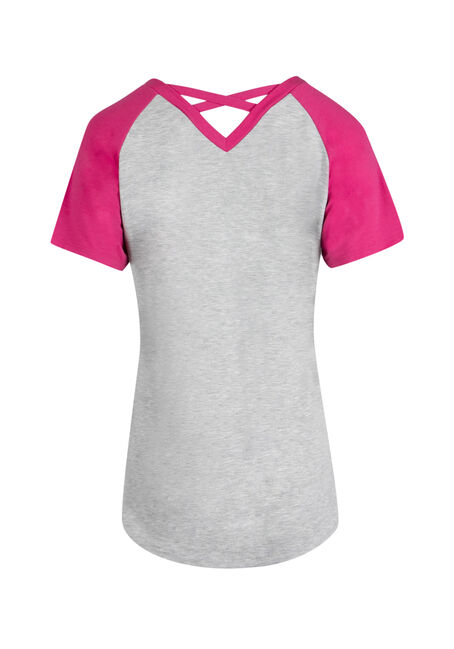 Ladies' Cross Back Baseball Tee, HGREY/RASPBERRY, hi-res