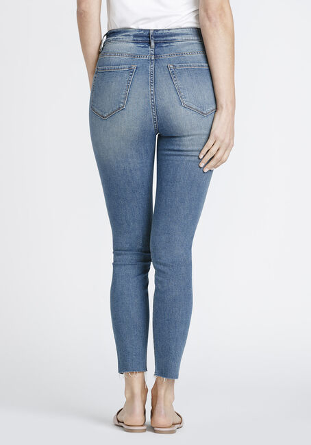 Women's High Rise Distressed Ankle Skinny Jeans, MEDIUM WASH, hi-res