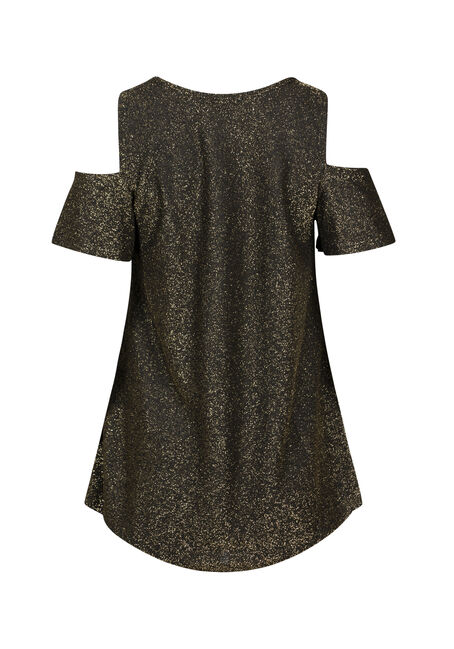 Women's Shimmer Cold Shoulder Top, GOLD, hi-res