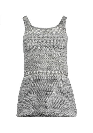 Women's Sweater Tank, IVORY/BLACK, hi-res