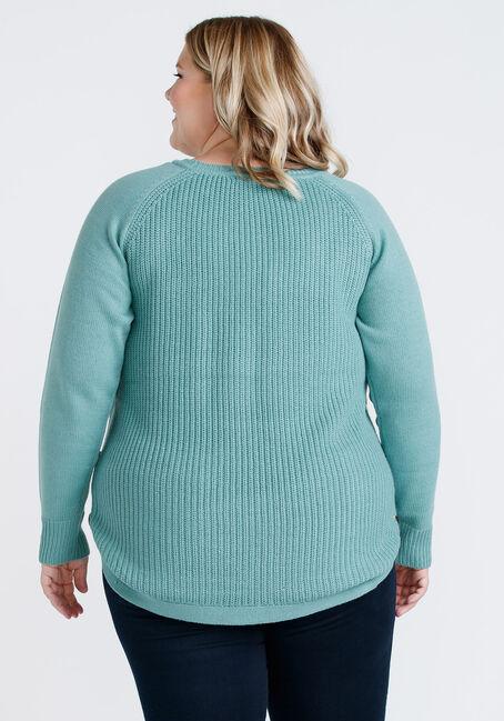 Women's Side Button Sweater, JADE VINE, hi-res