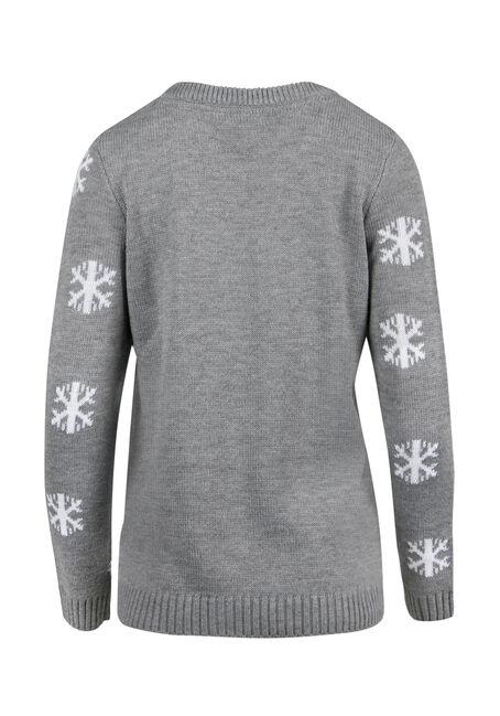 Ladies' Reindeer Sweater, GREY, hi-res