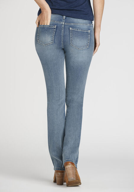 Ladies' Curvy Straight Leg Jeans, MEDIUM WASH, hi-res