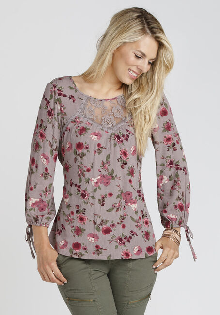 Ladies' Floral Crinkle Lace Top, GREY, hi-res