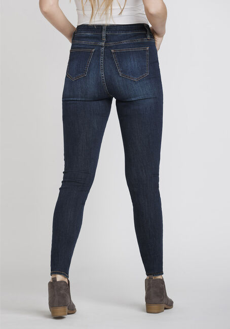 Women's Distressed High Rise Skinny Jeans, DENIM, hi-res