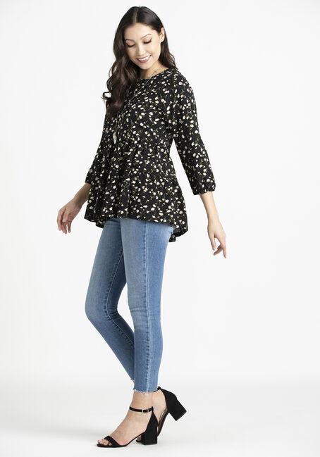 Women's Ditsy Floral Babydoll Tunic, BLACK, hi-res