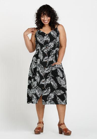 Women's Palm Leaf Midi Dress, BLACK/WHITE, hi-res