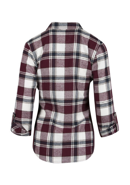 Ladies' Rib Insert Flannel Shirt, WINE, hi-res