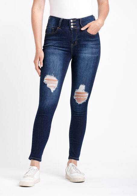 Women's 3 Button High Rise Destroyed Skinny Jeans