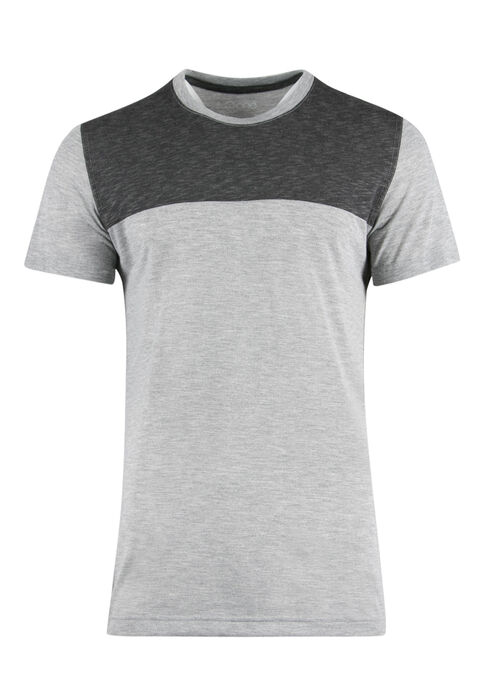 Men's Colour Block Tee, CHARCOAL, hi-res