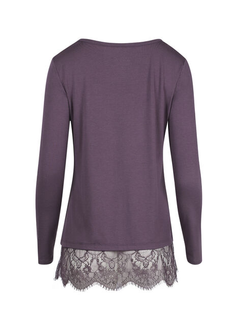 Ladies' Lace Hem Tee, PASS.PURPLE, hi-res