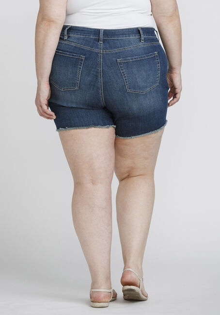 Women's Plus Size Frayed Midi Jean Short, DENIM, hi-res