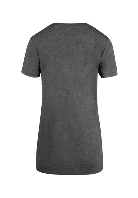 Ladies' Cage Front Choker Tee, CHARCOAL, hi-res