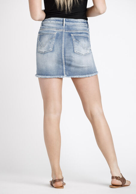 Women's Distressed Denim Skirt, LIGHT WASH, hi-res