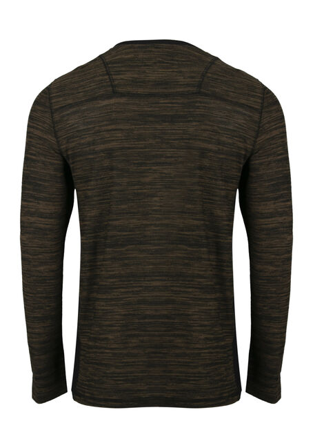 Men's Henley Tee, BROWN, hi-res